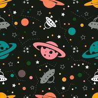 Nahtloser bunter Raummusterhintergrund von den Planeten, von den Raketen und von den Sternen