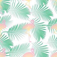 Sömlös modellbakgrund med flamingo och palmblad