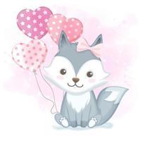 Fox mit gezeichneter Illustration des Ballons Hand