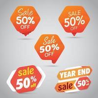 Uppsättning av Orange Sale 50 skyltar