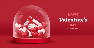 Happy Valentinstag Glas Hintergrund vektor