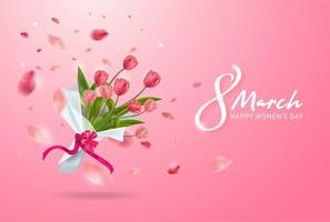 8. März Grußkarte. Internationaler Tag der glücklichen Frauen