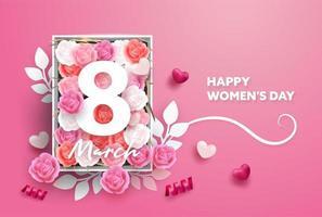 8 mars gratulationskort. Internationell glad kvinnodag