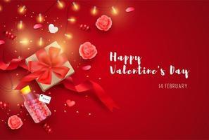 Happy Valentinstag Banner mit realistischen Elementen