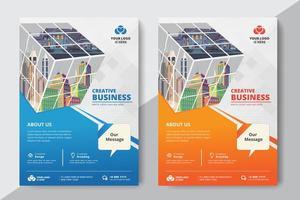 Företags affärsmall med kuben vektor
