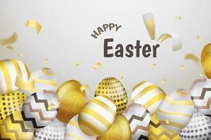 Frohe Ostern Gold und Silber Ei Hintergrund vektor