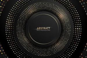 Abstrakter dunkler Hintergrund mit Goldglänzenden Kreisfunkeln- und -scheinelementen
