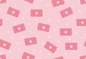 Seamless mönster av kärlek kuvert på rosa pastell prickar vektor
