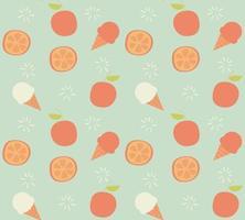 Seamless mönster med handritad orange frukt och glass