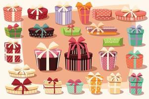 Sammlung bunte Geschenkboxen mit Bögen und Bändern