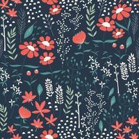 Sömlös mönsterdesign med handritade blommor och blommig element