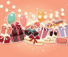 Födelsedagbakgrund med klistermärkearpresenter och ballonger