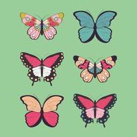 Samling av sex handritade färgglada fjärilar