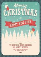 Julkort på vinterbakgrund, affischdesign vektor