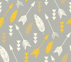 Bohemiska fjädrar och pilar, sömlösa mönster vektor