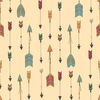 Bohemiska handritade pilar, sömlösa mönster