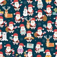 Jul sömlösa mönster med jultomten, ren, björn och presenter vektor