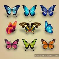 Färgglada Vector fjärilar Set