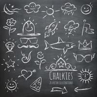 Sechsundzwanzig Chalkboard Chalkies Illustrations Set vektor