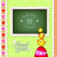 Glad påsk dekorativ fotoram vektor