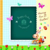Gratulationskort för glad påsk dekorativ fotoram vektor
