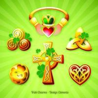 Sechs St. Patricks Day Irish Charms Illustration