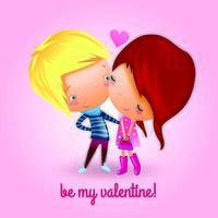 Jugendliche teilen sich den ersten Valentinstag vektor