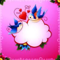 Alla hjärtans dag kärlek fåglar med hjärtan och textutrop