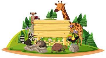Holzschild mit wilden Tieren vektor