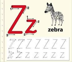Arbeitsblätter für die Alphabetisierung von Buchstabe Z vektor