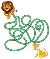 Lion Labyrinth Spielvorlage vektor
