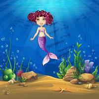 marint liv tecknad landskap med sjöjungfru vektor