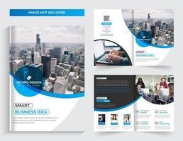 Företags blå tvåfaldiga broschyrmalldesign vektor