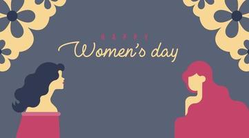 Blumeneckehintergrund der glücklichen Frauen Tages