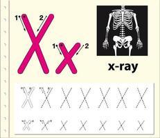 Arbeitsblätter für die Alphabetisierung von Buchstaben X. vektor