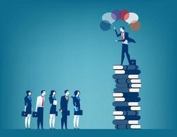 Business visionär ledare och prata med en grupp affärsmän vektor