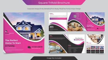 Corporate Business Square Dreifach gefaltete Broschüre Design vektor