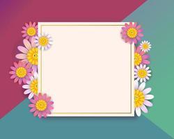 Quadratisches Grußkartendesign des Frühlinges mit Blumen vektor