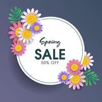 Frühlingsverkauf Kreis Karte und Blumen Design vektor