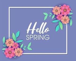 Purpurfärgad vårhälsningsdesign med ram och blommor