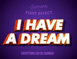 Jag har en dröm modern stark fet texteffekt vektor