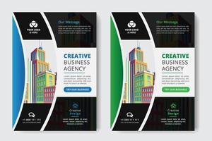 Gebogene Business Flyer A4 Größe 2 Flyer grün und blau