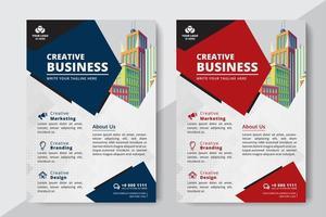 Business Flyer A4 storlek 2 reklamblad röd och blå färg