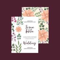 blommor dekoration blommig bröllop kort hälsning vektor