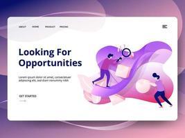 Letar efter möjligheter webbplats mall vektor