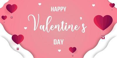Alla hjärtans dag Banner med origami hjärta ballonger