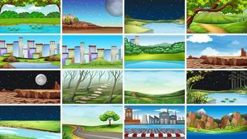 Enorm uppsättning av natur-, stads-, fabriks- och landsbygdsscener vektor