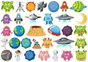 Satz Planetenraumelemente
