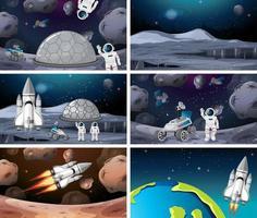 Uppsättning av olika astronaut och raket scen vektor