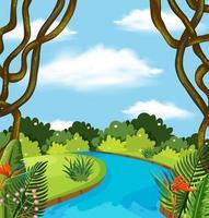 En flod i skoglandskap vektor